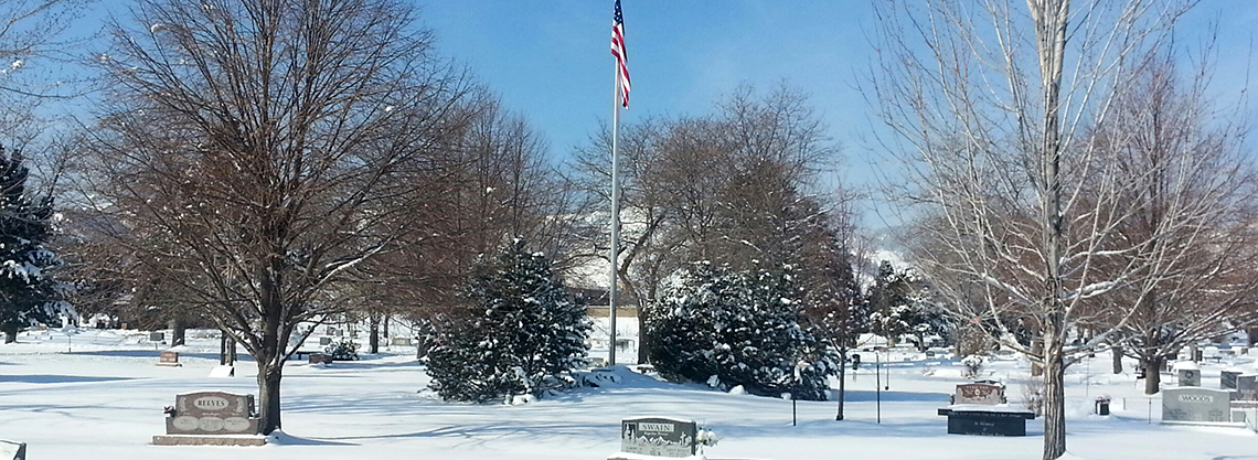 Snow Blankets the Cemetery